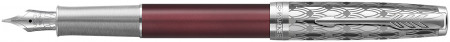Parker Sonnet Premium Fountain Pen - Metal & Red with Solid 18K Gold Nib