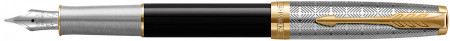 Parker Sonnet Premium Fountain Pen - Metal & Black with Solid 18K Gold Nib