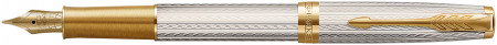 Parker Sonnet Premium Fountain Pen - Silver Mistral with Solid 18K Gold Nib
