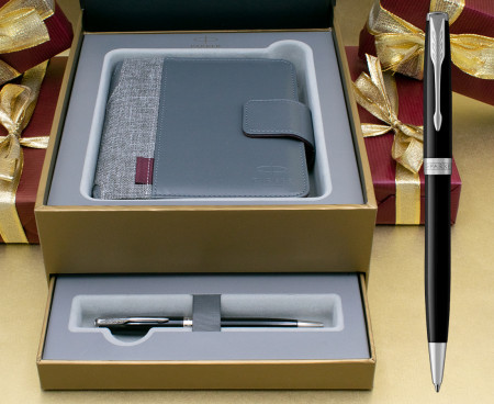 Parker Sonnet Ballpoint Pen - Black Lacquer Chrome Trim in Luxury Gift Box with Free Organiser
