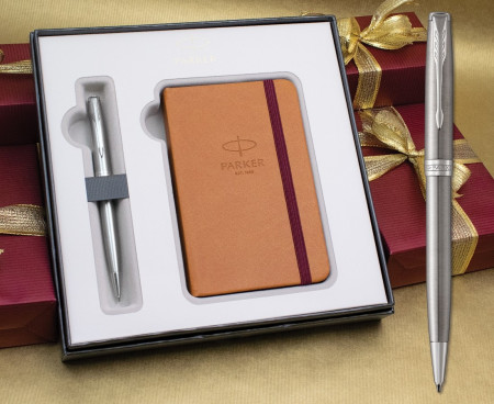 Parker Sonnet Ballpoint Pen - Stainless Steel Chrome Trim in Luxury Gift Box with Free Notebook