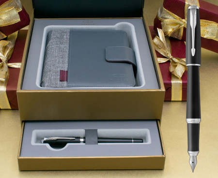 Parker Urban Fountain Pen - Muted Black Chrome Trim in Luxury Gift Box with Free Organiser
