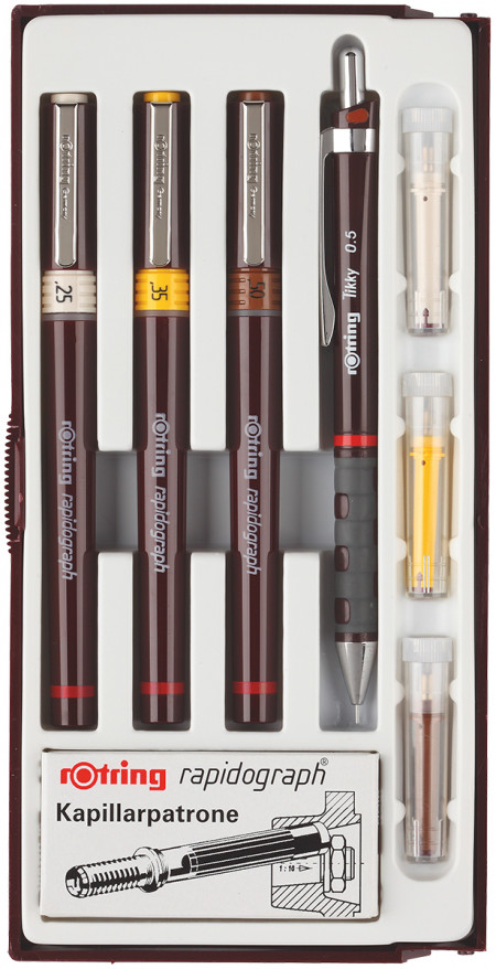 Rotring Rapidograph Junior Set - 0.25mm/0.30mm/0.50mm