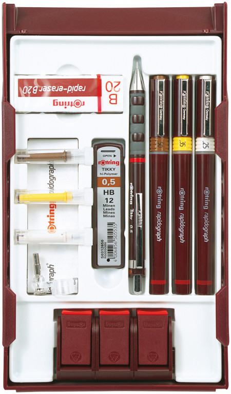 Rotring Rapidograph College Pen Station - 0.25mm/0.35mm/0.50mm