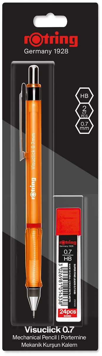 Rotring Visuclick Mechanical Pencil With Leads - 0.7mm - Orange