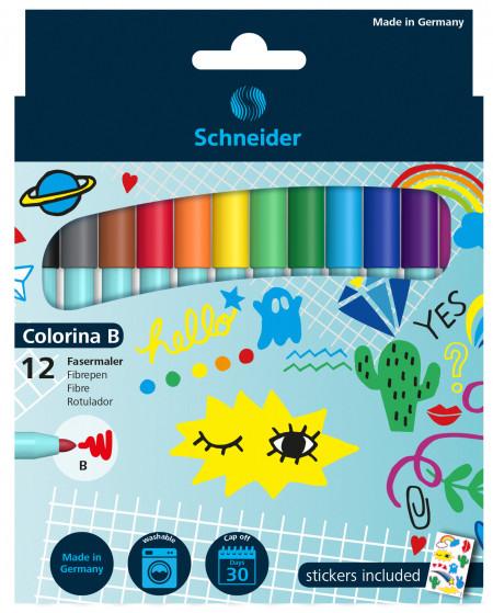 Schneider 12 Colorina Fibre Tip Pens - Broad - Assorted Colours (Pack of 12)