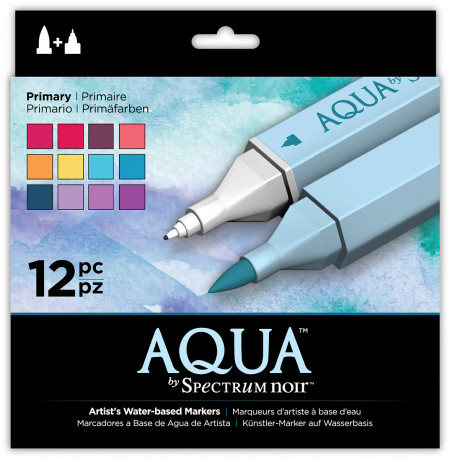 Spectrum Noir Aqua Watercolour Markers - Primary (Pack of 12)