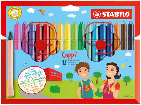 Stabilo Cappi Colouring Pens - Assorted Colours (Pack of 18)