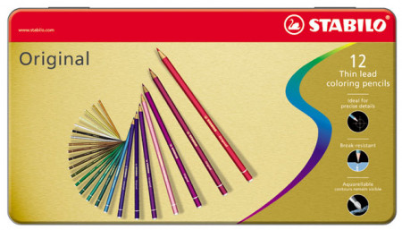 Stabilo Original Colouring Pencils - Assorted Colours (Tin of 12)