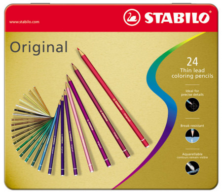 Stabilo Original Colouring Pencils - Assorted Colours (Tin of 24)