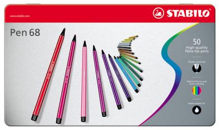 Stabilo Pen 68 Fibre Tip Pen - Assorted Colours (Tin of 50)