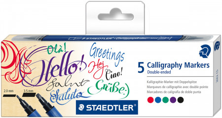 Staedtler Calligraphy Markers - Double Ended - Assorted Colours (Pack of 5)
