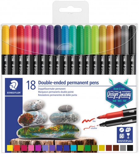 Staedtler Double Ended Permanent Pens - Assorted Colours (Wallet of 18)
