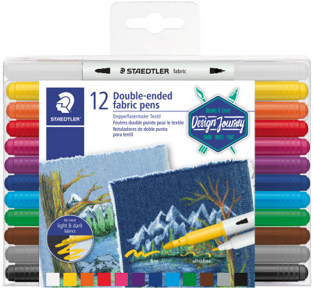 Staedtler Double Ended Fabric Pens - Assorted Colours (Wallet of 12)