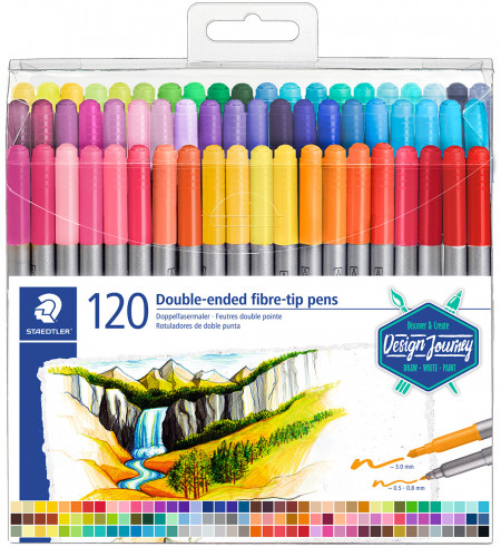 Staedtler Double Ended Fibre Tip Pens - Assorted Colours (Wallet of 120)