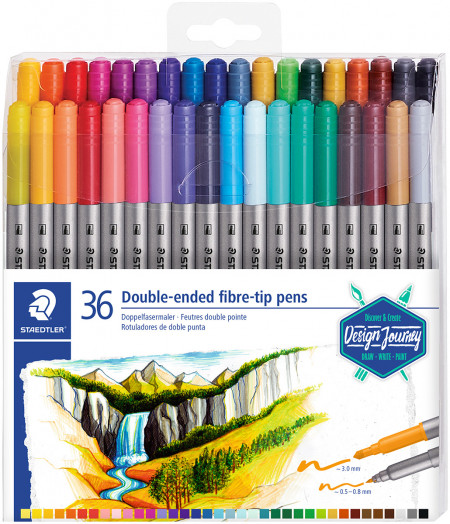 Staedtler Double Ended Fibre Tip Pens - Assorted Colours (Wallet of 36)