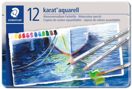 Staedtler Karat Aquarell Watercolour Pencils - Assorted Colours (Tin of 12)