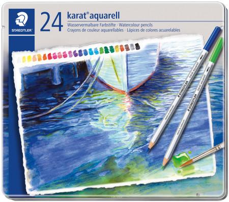 Staedtler Karat Aquarell Watercolour Pencils - Assorted Colours (Tin of 24)