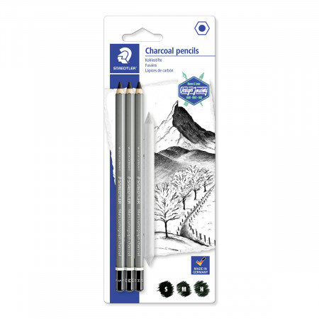 Staedtler Lumograph Charcoal Pencil - Assorted Grades (Pack of 3)