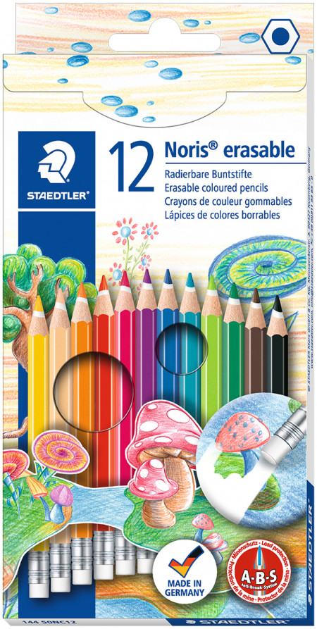 Staedtler Noris Club Erasable Coloured Pencils with Eraser Tip - Assorted Colours (Pack of 12)