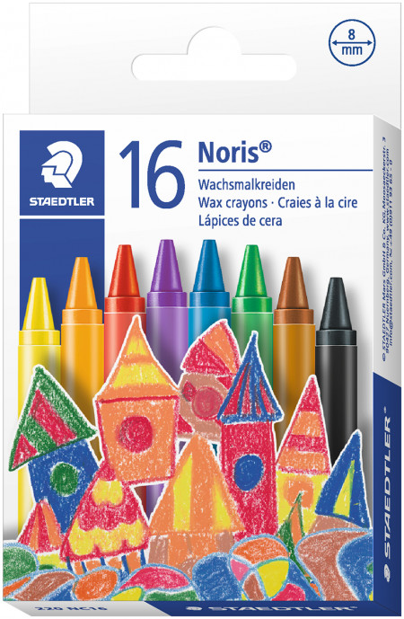 Staedtler Noris Club Wax Crayons - Assorted Colours (Pack of 16)