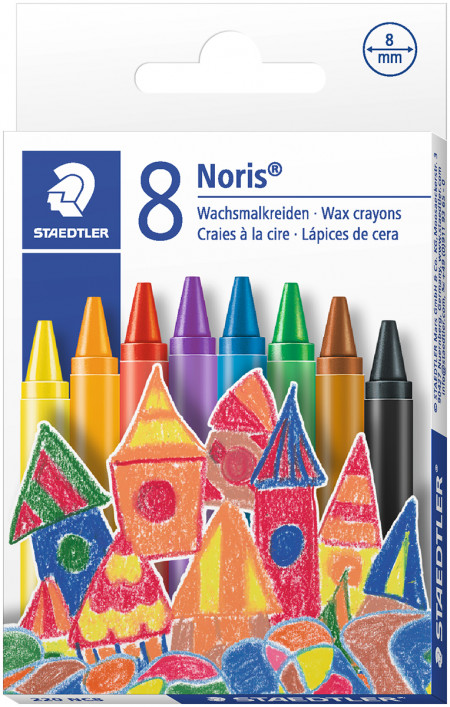 Staedtler Noris Club Wax Crayons - Assorted Colours (Pack of 8)