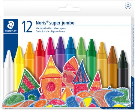 Staedtler Noris Club Super Jumbo Wax Crayons - Assorted Colours (Pack of 12)