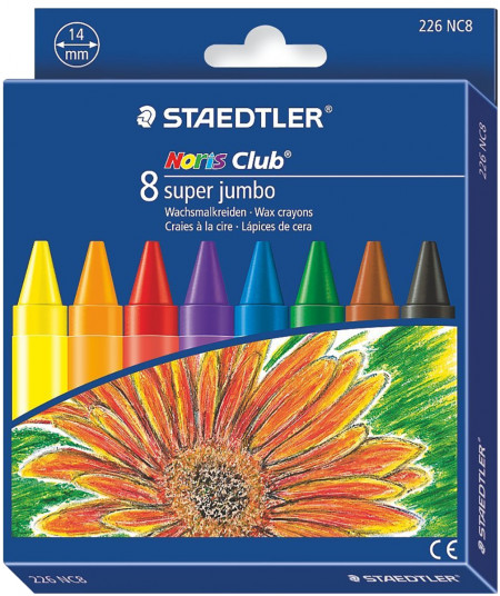 Staedtler Noris Club Super Jumbo Wax Crayons - Assorted Colours (Pack of 8)