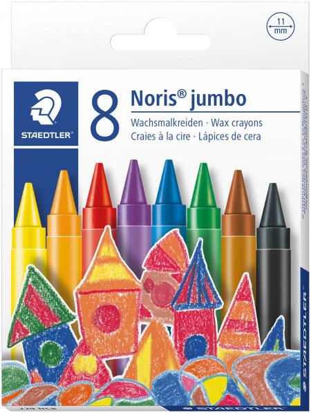 Staedtler Noris Club Jumbo Wax Crayons - Assorted Colours (Pack of 8)