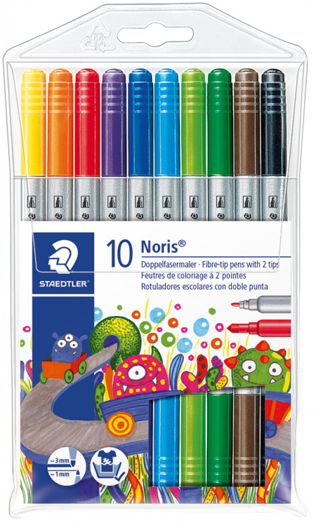 Staedtler Noris Club Double-Ended Fibre Tip Pens - Assorted Colours (Pack of 10)