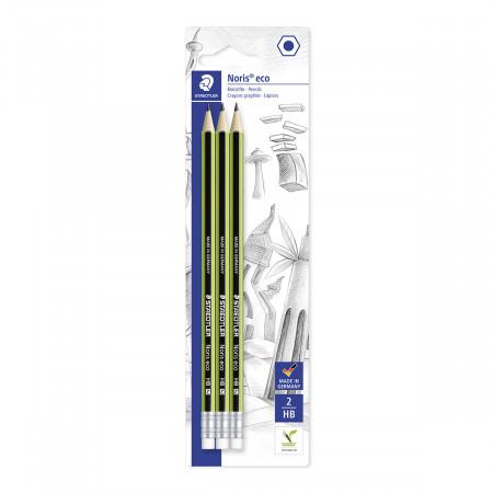 Staedtler Noris Eco Pencils with Eraser Tip - HB (Blister of 3)