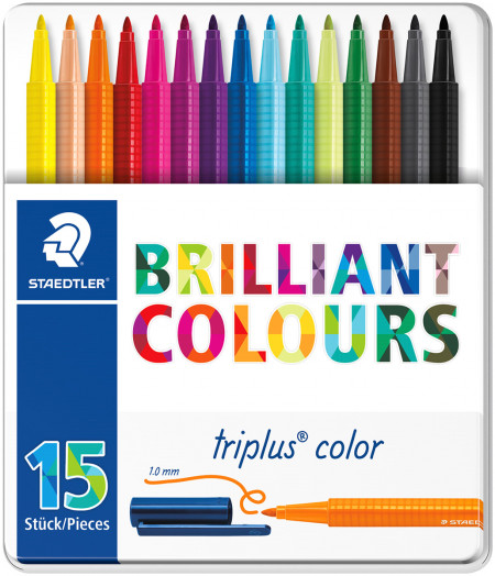 Staedtler Triplus Triangular Fibre Tip Pens - Assorted Colours (Tin of 15)