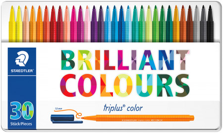 Staedtler Triplus Triangular Fibre Tip Pens - Assorted Colours (Tin of 30)