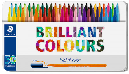 Staedtler Triplus Triangular Fibre Tip Pens - Assorted Colours (Tin of 50)