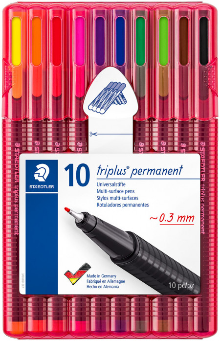 Staedtler Triplus Permanent Fineliner Pens - Assorted Colours (Wallet of 10)