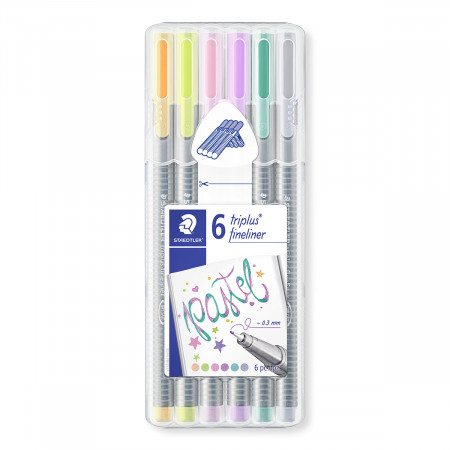 Staedtler Triplus Fineliner Pens - Assorted Pastel Colours (Pack of 6)