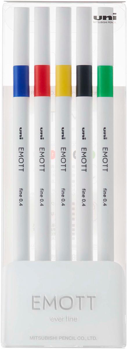 Uni-Ball PEM-SY Emott Fineliner Pens - Vivid Colours (Pack of 5)