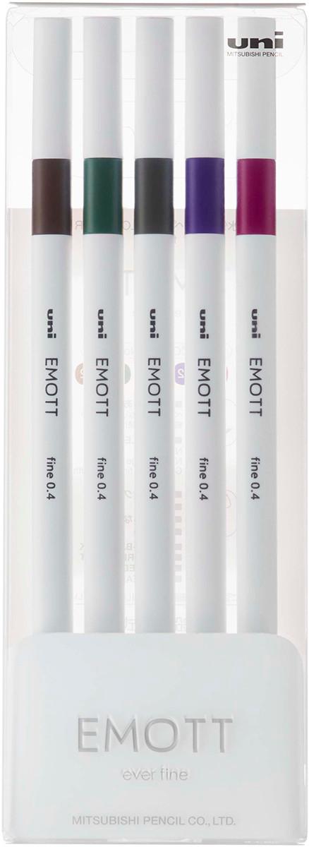 Uni-Ball PEM-SY Emott Fineliner Pens - Vintage Colours (Pack of 5)