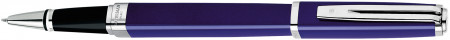 Waterman Exception Rollerball Pen Slim - Blue Lacquer Silver Trim