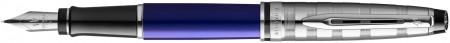 Waterman Expert Fountain Pen - Deluxe Blue Chrome Trim