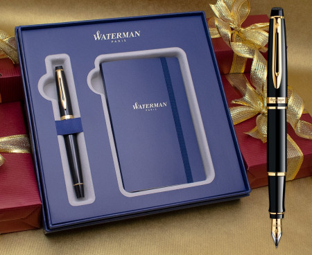 Waterman Expert Fountain Pen - Black Gold Trim in Luxury Gift Box with Free Notebook
