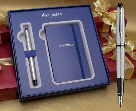 Waterman Expert Fountain Pen - Stainless Steel Chrome Trim in Luxury Gift Box with Free Notebook