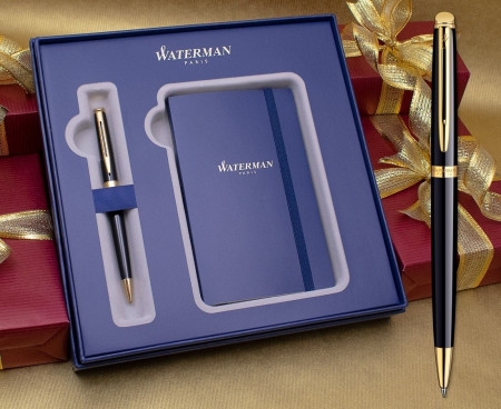 Waterman Hemisphere Ballpoint Pen - Gloss Black Gold Trim in Luxury Gift Box with Free Notebook