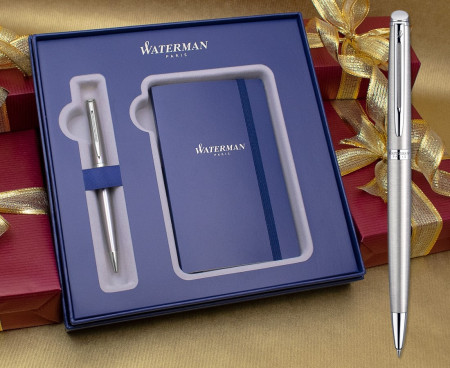 Waterman Hemisphere Ballpoint Pen - Stainless Steel Chrome Trim in Luxury Gift Box with Free Notebook