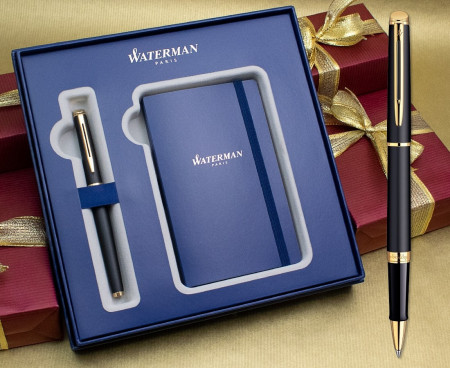 Waterman Hemisphere Rollerball Pen - Matte Black Gold Trim in Luxury Gift Box with Free Notebook