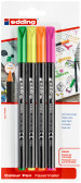 Edding 1200 Fibre Tip Pens - Assorted Neon Colours (Blister of 4)