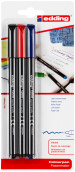 Edding 1200 Fibre Tip Pens - Assorted Colours (Blister of 3)