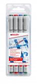 Edding 152 Non-Permanent Pens - Assorted Colours (Wallet of 4)