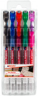 Edding 2185 Gel Rollerball Pens - Assorted Colours (Wallet of 5)