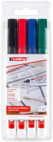 Edding 400 Permanent Markers - Assorted Colours (Wallet of 4)